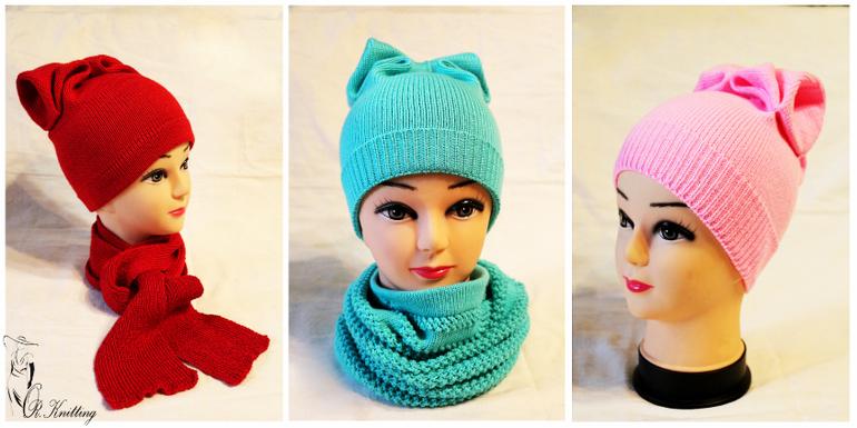 Детская шапочка с бантиком вязание 21