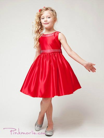 Красное детское выпускное платье