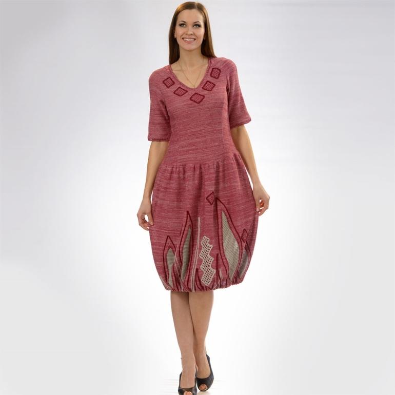 платье в полоску на кокетки рукав