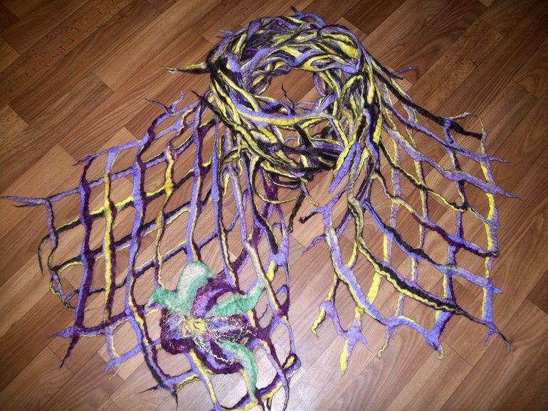 Валяние шарф сетка