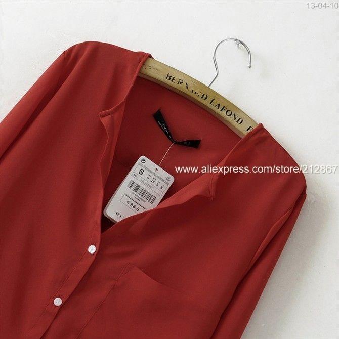 Шифоновая Красная Блузка Доставка