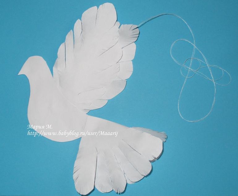 Вырезать голубя из бумаги своими руками