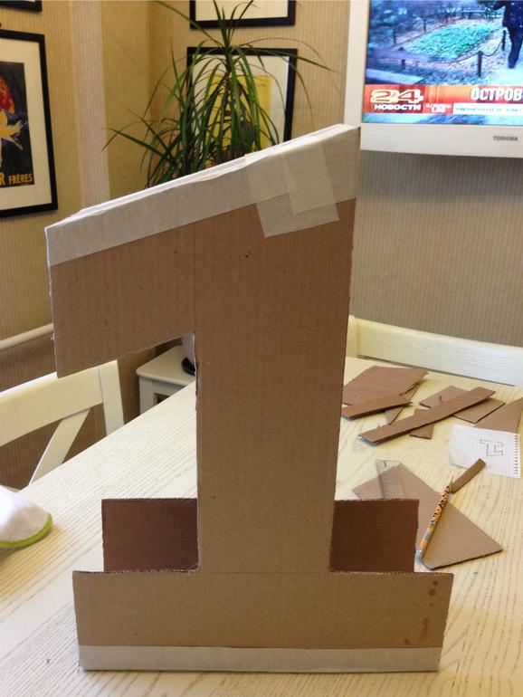 Как сделать единичку на годик своими руками мальчику пошагово без картона 54