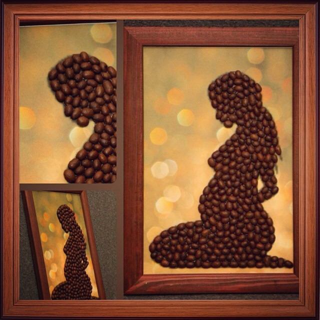 Картина из зерен кофе своими руками трафарет