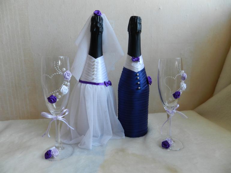 Фужеры и шампанское на свадьбу своими руками фото 34