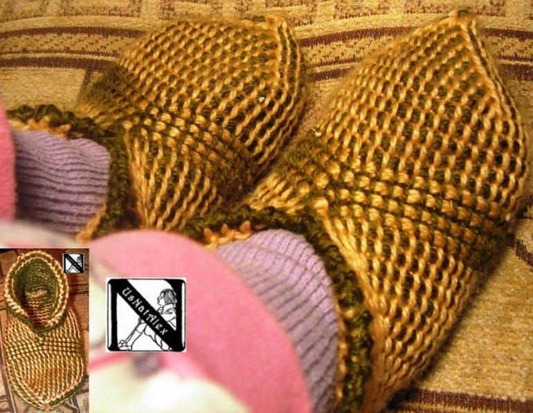 Круговое тунисское вязание - реализация: носочки-тапочки