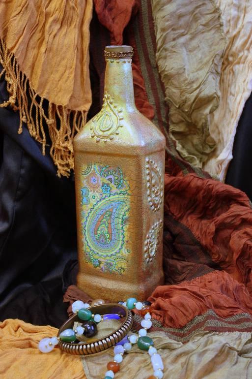 Мастер-класс по бутылке «Загадочная Индия».