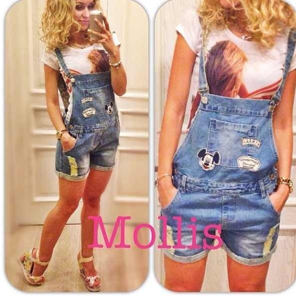 Женские джинсовые комбинезоны шорты