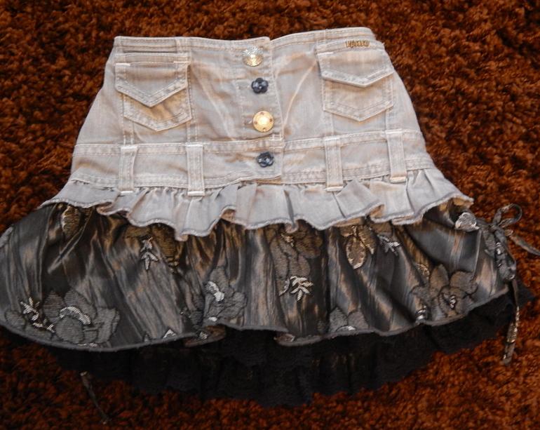 Как сшить юбку верх джинс низ ткань 16