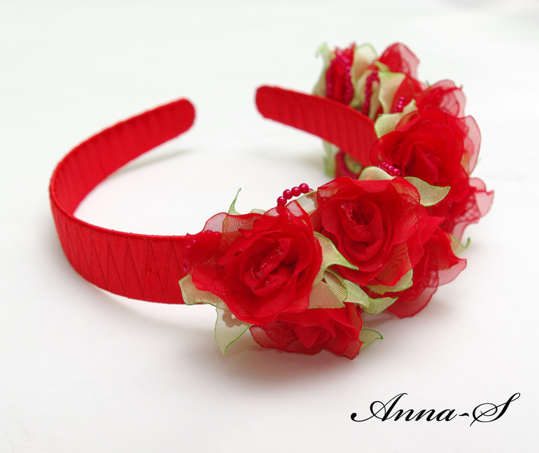 """Детский ободочек """" Красные розы """""""