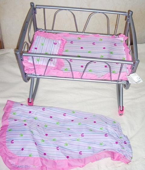 Кроватка-качалка металлическая  для кукол с матрас