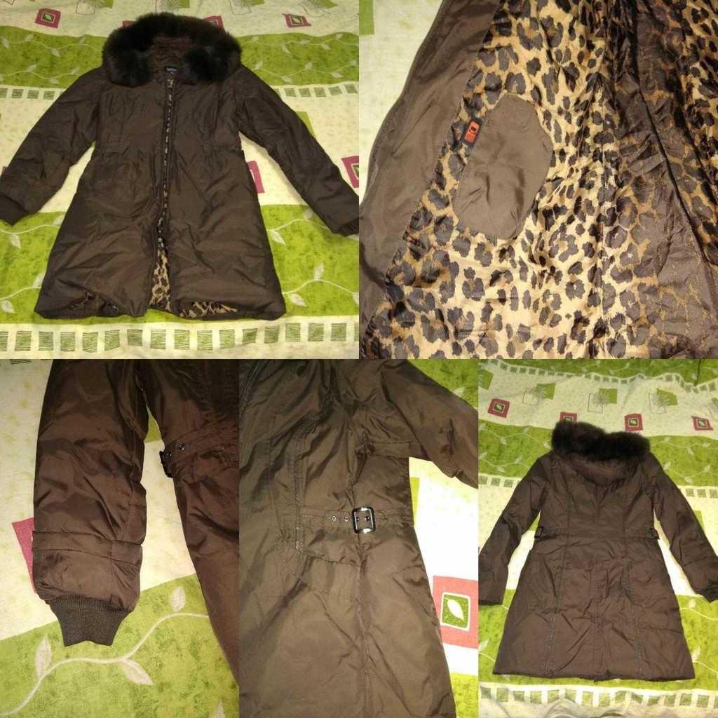 Куртка - пальто - парка - пуховик р.42! Цвет корич
