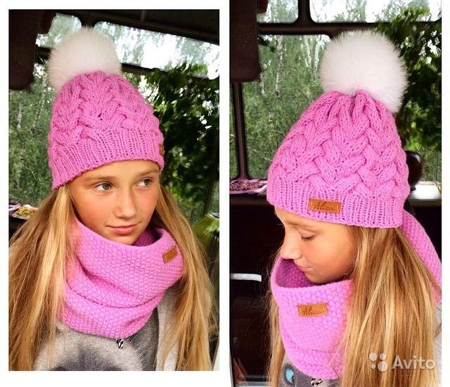 Дизайнерская шапка на 6-9 лет