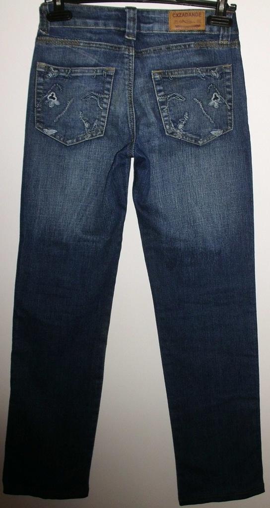 Джинсы синие с вышивкой стрейч длина 95 см р.26