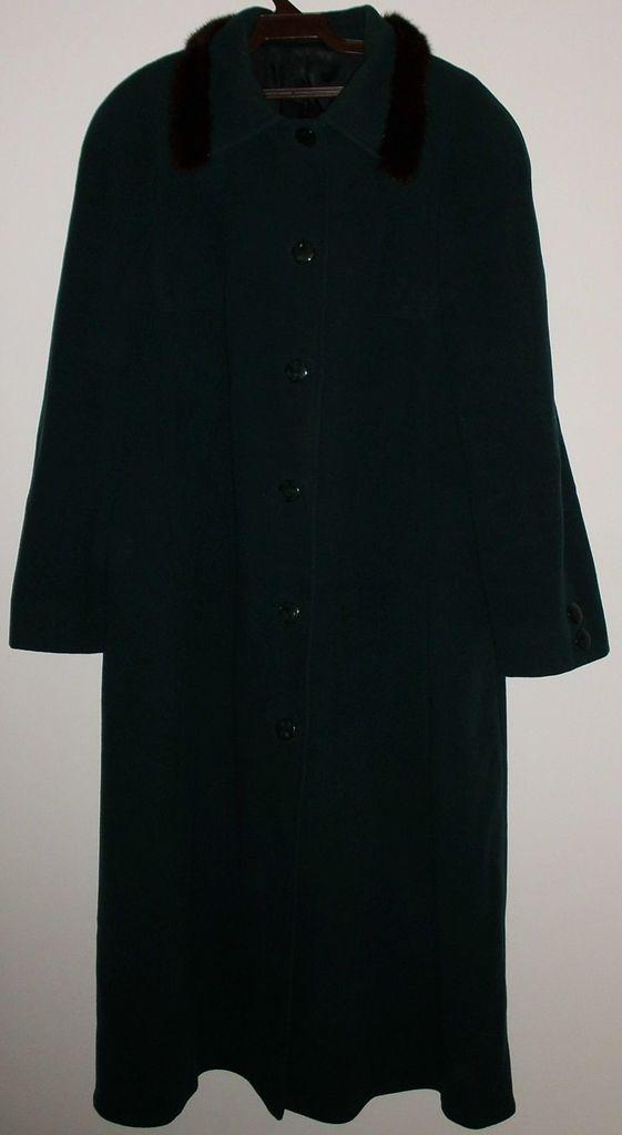 Ретро пальто шерсть зеленое СССР р.54-56 ОГ 124 см