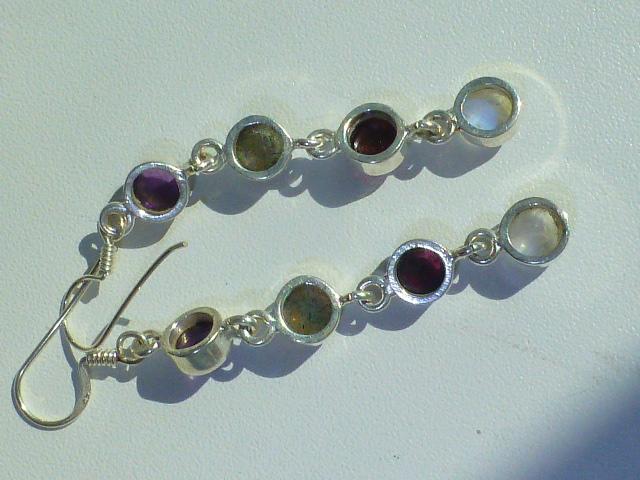 Серьги, серебро и полудраг.камни