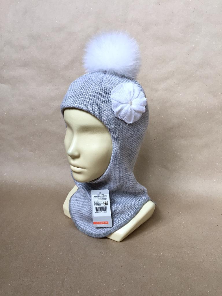 новая шлем - шапка с натуральным помпоном