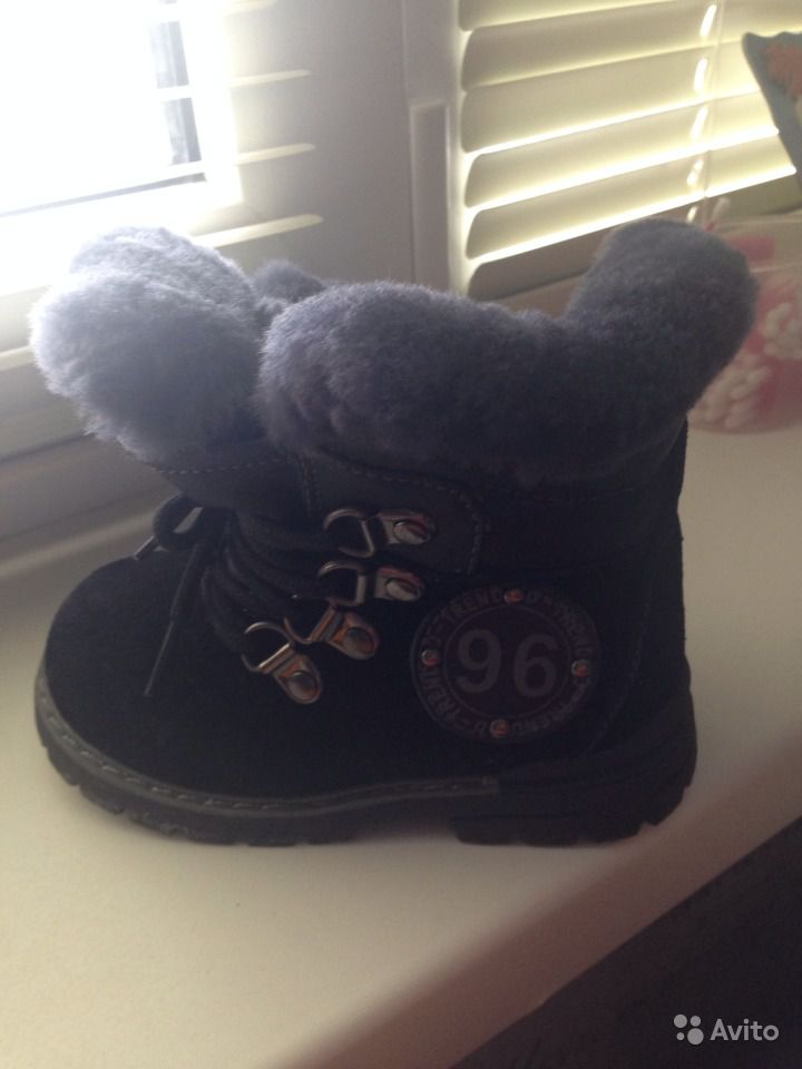 Зимние замшевые ботиночки 23 размер.