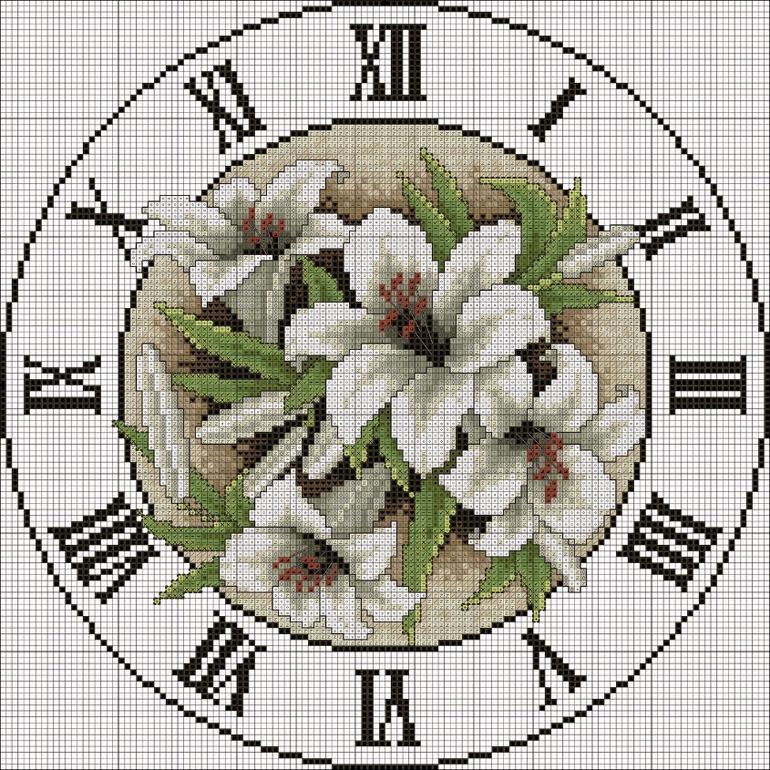 Схемы для крестика часы