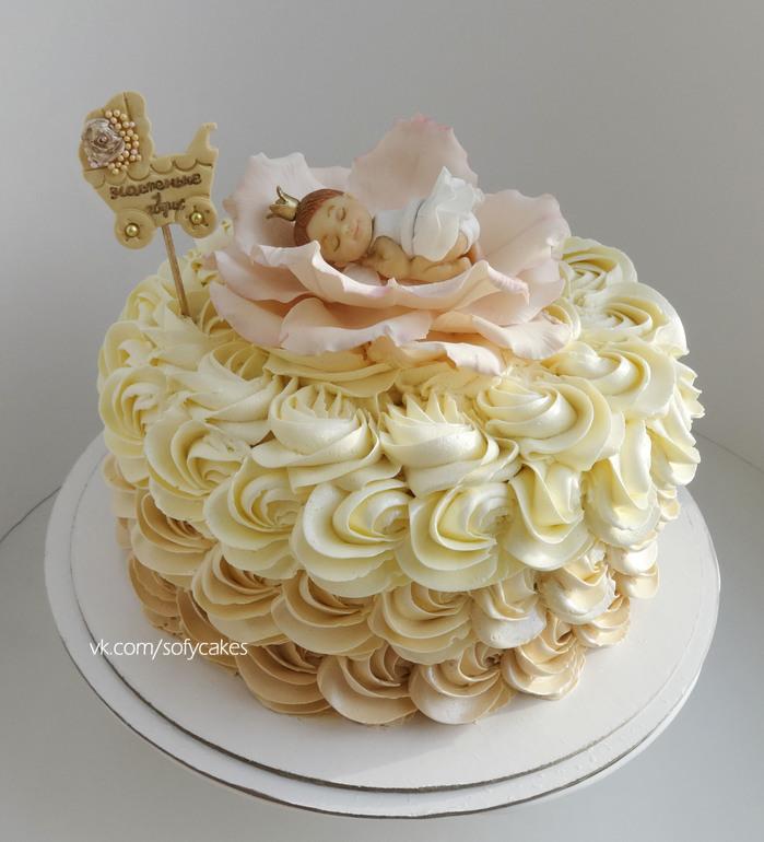 торт на годик из крема девочке фото