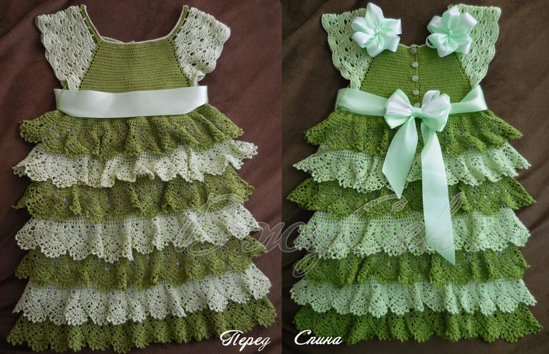 Вяжем крючком платье с воланами