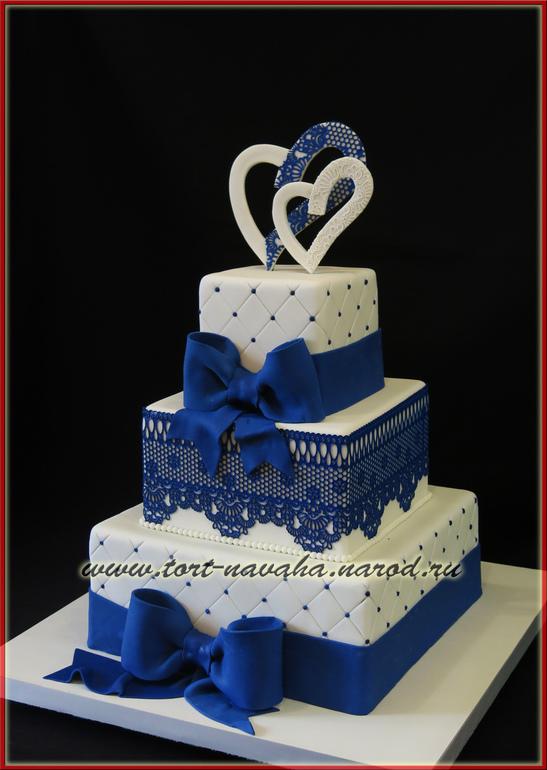 Свадебный сине белый торт