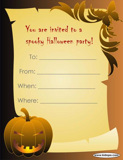 Днем, тексты на приглашения на хэллоуин