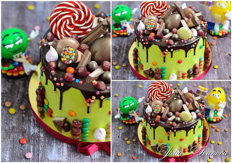 украсить торт конфетами фото