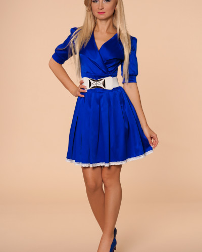 Платье № 870-синий