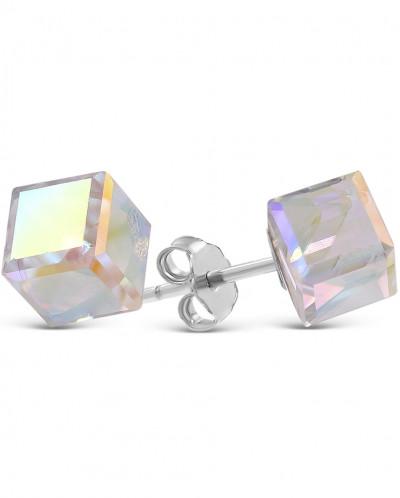 Серьги-пусеты из серебра с куб.цирконием Swarovski родирован