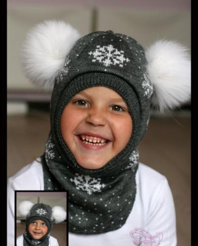 "Шлем для девочки ""Снежинки""(серый с бел.снеж)."
