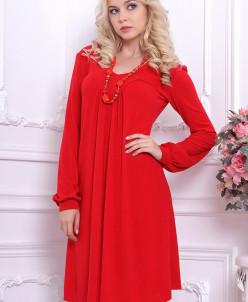 Платье 667. Красный. Теплый трикотаж