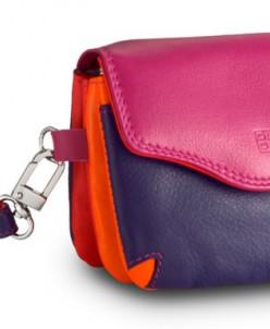 Кожаная мини-сумочка DuDu серии Bioko | фуксия пэчворк