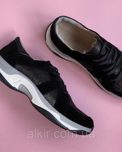 Кроссовки 509-1 черная замша + черн сатин ( крос 3 черн с 19