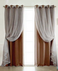 Артикул 6343  Комбинированные шторы на люверсах Таня арт - 6