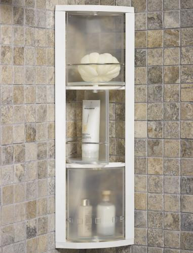 Угловой шкафчик, 3 вращающиеся полки (прозрачно-натуральные)