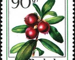 Марки 50gr 90gr 1977г. Польша Лесные ягоды и орехи