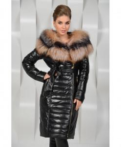 Кожаное зимнее пальто с мехом лисы