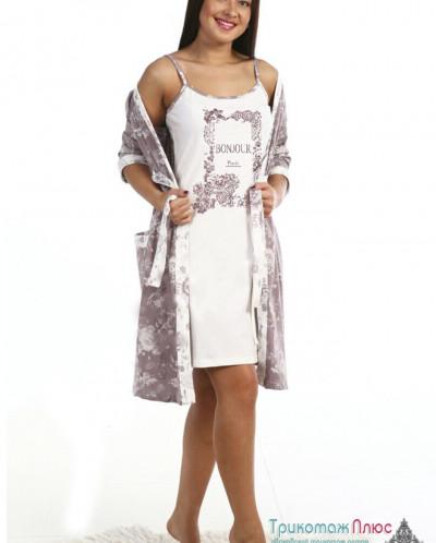 Комплект женский Бонжур (сорочка и халат)