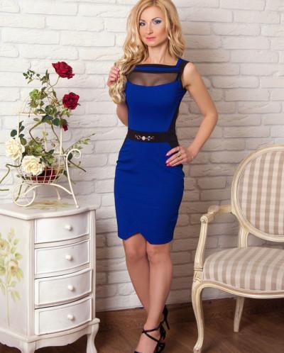 Платье № 856-синий