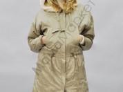 Пальто  удлиненное с меховым капюшоном новое с эти