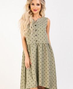 Платье 353 хаки/горох