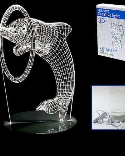 Светильник 3D, изображение дельфина