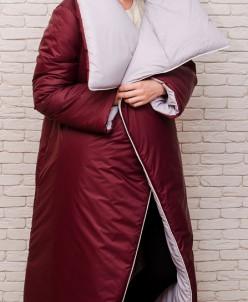 Женское длинное пальто одеяло c воротником, двухстороннее