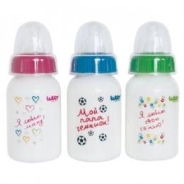 Бутылочка LUBBY Я люблю свою семью, силиконовая соска, цветн