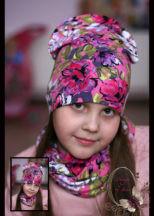Комплект для девочки «Розовые фантазии»(шапка+шарф-восьмерка