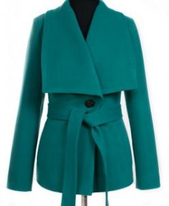 Пальто женское демисезонное (пояс) Кашемир Изумруд