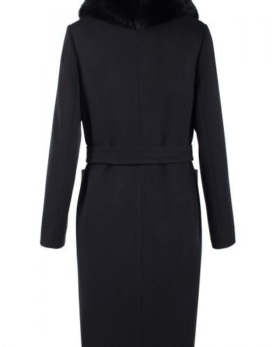 Пальто женское утепленное (пояс) Кашемир Черный