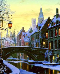 Зимний вечер - алмазная мозаика
