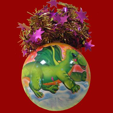 "Шар ""Рождественский"" (Зеленый Дракон), диаметр 95мм, арт. Ш9"